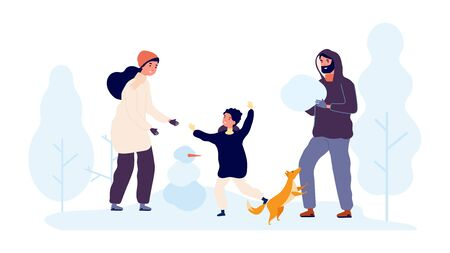 Winter outdoor activity. Family build snowmen snowy park. Man with snowball and woman boy and dog. Happy couple with kid vector characters. Family build snowman, winter holiday fun illustration Illustration