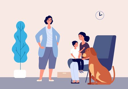 Pet therapy. Animal physical therapists, pets children rehabilitation. Kid with mother, dog and dog handler vector illustration. Pet dog and child boy, medical assistance therapy