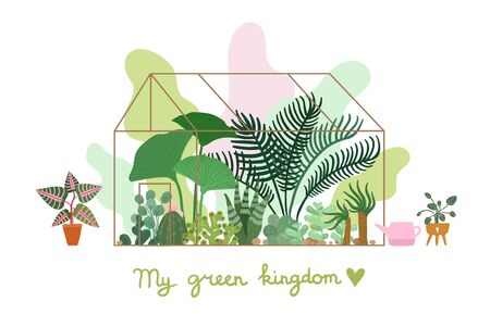Greenhouse. Planting plant, pavilion decorative garden. Modern nature home and tropical trendy greenery. Seedlings vector flat illustration. Environmental garden, orangery cultivated Illusztráció