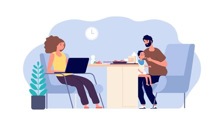 Family together. Mother, father and baby. Dad with little son and working mom. Parenthood vector illustration. Dad feed kid and happy mother with laptop Ilustrace