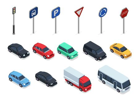 Isometric cars. Road signs, 3d vehicles isolated on white background. Autos, truck and bus vector set. Auto vehicle and roadsigns isometric illustration