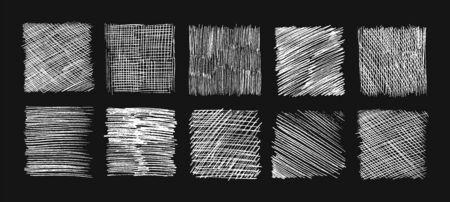 Eclosion de croquis à la craie. Textures de griffonnage, lignes d'esquisse au crayon. Griffonnages et scratch, ensemble d'arrière-plans vectoriels grunge dessinés à la main. Rayure d'éclosion, illustration de rectangle de hachures, effet graffiti
