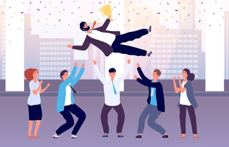 Team celebrates victory. Employees throw colleague up celebrating event. Successful manager with corporate business award vector concept. Illustration business team victory, colleague success worker