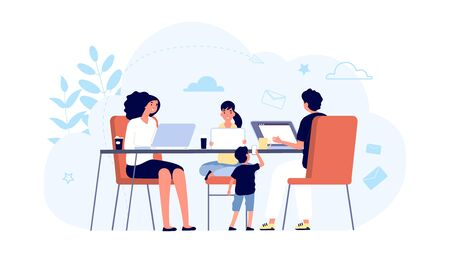 Family with gadgets. Family network concept. Mom, dad kids with laptops and tablets at table together. Internet addiction, online lifes. Illustration family addiction network, social mobile Illustration