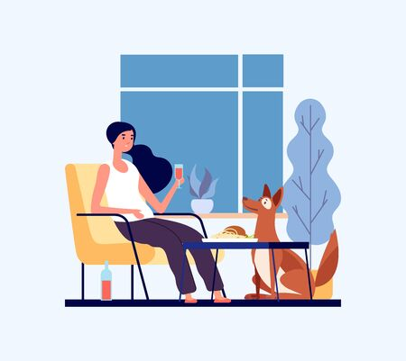 Home dinner concept. Girl with her dog in living room. Pet lover character. Hygge home vector illustration. Woman in living room with dog dinner Illustration