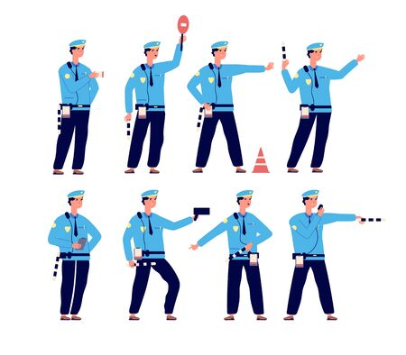 Traffic police. Road security, traffic control patrol officer. Vehicle driver safety, parking controller vector isolated characters. Illustration officer traffic security pose Illusztráció