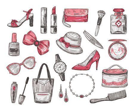 Esquissez les accessoires pour femmes. Sac à main, chapeau et montre, mascara et lunettes, nœud et rouge à lèvres, vernis à ongles et collier. Griffonnages de vecteur de mode. Parfum de beauté et cosmétiques de croquis de mode d'illustration