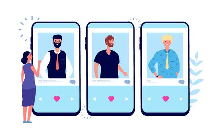 Online dating. Single girl looking couple on phone dating app. Young woman searching love. Female choose between men vector illustration. Online searching and choose man for communication and romance