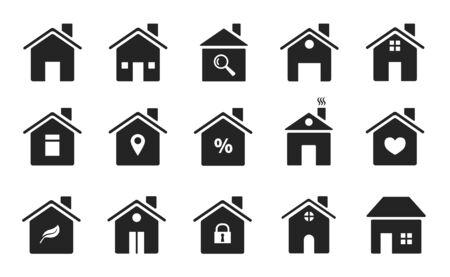 Icone domestiche. Forme di case piatte nere. Case sagome simboli di homepage, pulsanti web. Edifici in stile semplice. Il vettore firma la siluetta immobiliare dell'illustrazione dell'alloggio Vettoriali