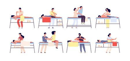 Massage therapy. Relaxing spa treatment, rehabilitation therapists and patients. Wellness relaxation men and women isolated vector set. Illustration massage body therapy, rehabilitation health