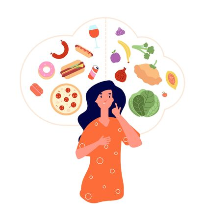 Healthy unhealthy food. Junk vs good foods diet balance. Woman choose between fresh meals and fast food. Lose weight obese vector concept. Woman choice unhealthy nutrition or healthy diet illustration Ilustracja