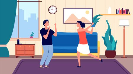 Family quarrel. Angry arguing girl, couple have problems relationship. People divorce and abusive each other. Wife and husband argue vector illustration. Husband and wife divorce, relationship quarrel