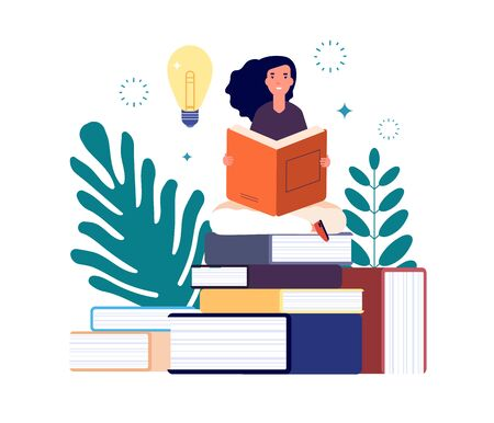 Self education. Girl reading book, study and gain new knowledge. Woman learns from textbooks. Business studying, have new idea vector concept. Education student read book new knowledge illustration Иллюстрация