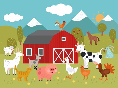 Cartoon farm. Goat, cat and pig, goose and chicken, cow and dog, turkey and rabbit farm building vector illustration. Chicken and goose, cow and pig, farm barnyard