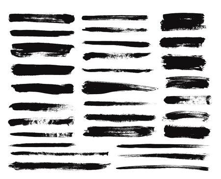 Trazo de pincel de tinta. Pintura seca mancha larga, manchas negras. Líneas rectas texturizadas aisladas o elementos de diseño de arte grunge. Conjunto de dibujo vectorial. Pincel, ilustración de trazo de tinta grunge