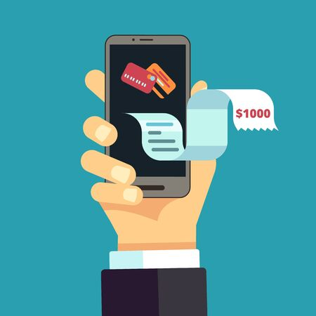 Electronic invoice. mobile receipt, online bill. digital financial expense transfer. Vector hand hold smartphone with long pay check illustration. Illustration payment bill, receipt and invoice Vettoriali