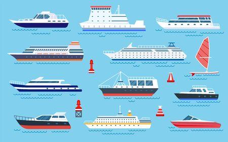 Flat ships. Speed boats, sea transport. Flat cruise yachts, sailboat and motorboat. Cartoon ocean transportation and shipping vector set. Illustration motorboat and cruise, ocean speed yacht