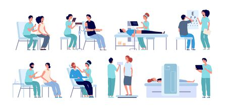 Medical check up. Doctor checking patient, eyes test and physical health. Hospital pre operation procedures. Male female checkup vector set. Medical doctor, patient diagnostic illustration