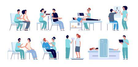 Medizinische Überprüfung. Arzt, der Patient, Augentest und körperliche Gesundheit überprüft. Verfahren vor der Operation im Krankenhaus. Männliche weibliche Überprüfungsvektorsatz. Arzt, patientendiagnostische abbildung