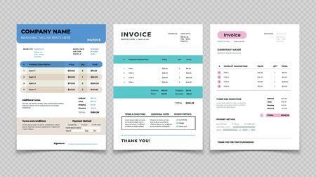 Invoice template. Bill receipt design, quotation invoicing and sale. Customer order agreement form vector set. Illustration accounting order, bill document, total payment