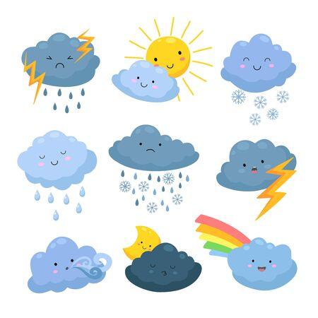 Nubes meteorológicas de dibujos animados. Lluvia, elementos de nieve. Formas de nubes celestiales, tormenta y relámpagos, sol y luna. Conjunto de vectores de pronóstico meteorológico. Ilustración lluvia y nieve, tormenta y viento.
