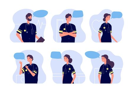 Paramedic. Medical team, first aid staff. Doctor avatars, modern ambulance workers with stethoscopes and speech bubbles. Vector nurses set of medical emergency team, ambulance doctor illustration Ilustração