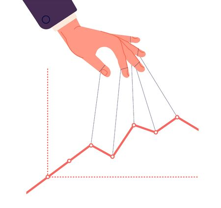 Puppet master controlling chart. Business speculate graph, control finance indicators and marketing. Hand manipulates price vector concept. Illustration puppet chart, hand control and manipulating