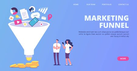 Digital marketing sales funnel. Vector funnel generating sales landing page. Illustration generation social marketing, business strategy