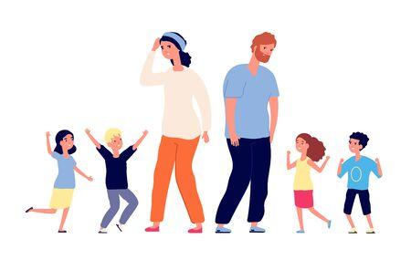 Große Familie. Müde Eltern, glückliche aufgeregte Kinder. Mutter-Vater-Stand mit Teenagern. Vektorerziehung, Kleinkinderillustration der großen Gruppe. Vater und Mutter mit Kindern Jungen und Mädchen Vektorgrafik