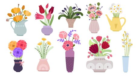 Bouquets. Garden flowers bunch, blooming summer botanical herbs. Herbaceous plants in pots, pitchers and bottles. Flat floral vector set. Illustration botanical blossom bouquet, flower spring