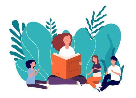 Libro de lectura de la madre. Mujer sonriente cuenta cuento de hadas a sus lindos hijos. Chica con libros sentado con niños ilustración vectorial. Mujer leer historia para niños niño y niña.