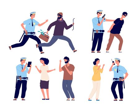 Policiers au travail. Une patrouille de flics rattrape un voleur, un policier arrête un personnage criminel, un travail juridique, aide à l'ensemble de vecteurs de victime. Officier de flic et criminel, patrouille de garde en uniforme illuistration Vecteurs