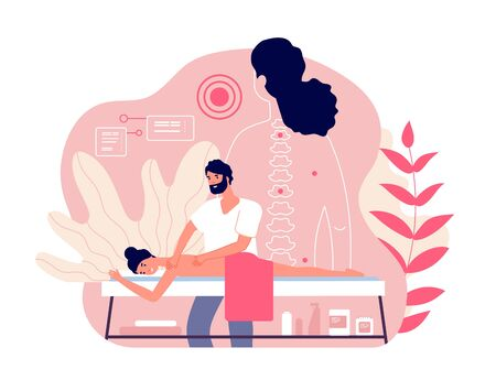 Massage. Woman enjoy relaxing spa. Professional body and muscle pain treatment with doctor. Wellness and healthcare vector concept. Body massage and spa, wellness medical chiropractor illustration Ilustração