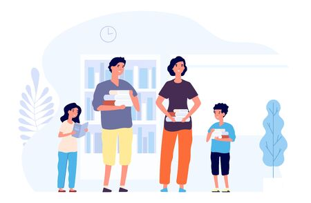 Book lovers. Man woman and kids with books. Flat happy family read literature. Bookstore and customers vector concept. Woman and man with books, kids reading illustration