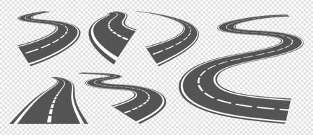 Doblar caminos. Conducir una carretera de asfalto, una carretera curva o una vía de giro. Vector set perspectiva de calles grises. Franja de ruta de ilustración, autopista de viaje, circuito sinuoso Ilustración de vector