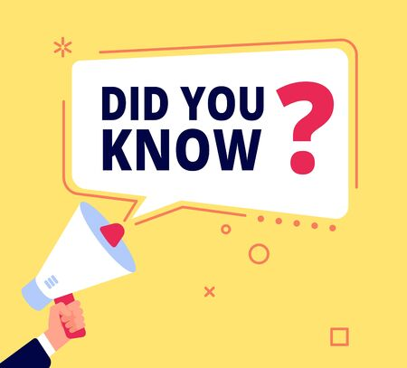 Did you know. Innovative facts, question banner or quiz idea. Fun speech bubble, marketing and promotion, sales. Vector thinking concept. Illustration question banner, bubble discussion or advice