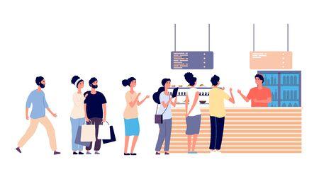 File d'attente au café. Les gens attendent de la nourriture, un restaurant de rue. Bar à salades, hommes et femmes ont besoin d'une illustration vectorielle alimentaire. Les gens font la queue au restaurant ou au café, attendent le caissier