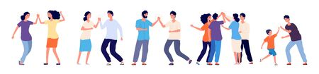 High five. Cheerful friends and colleagues giving high five. Happy people informal greeting, expression joy in agreement vector characters. High five friendship, cheerful happy greetings illustration Vectores