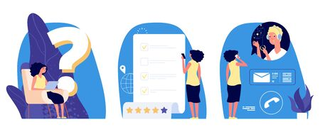 Question metaphor. Web support vector concept. Young girl has question. Woman looking answer, surfs internet, reads info, calls to help centre. Woman ask, support communication concept illustration