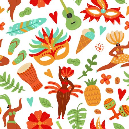 Carnival seamless pattern. Festive people, brazil festival girls. Brazilian dancers in bikini and feathers. Beach party vector background. Carnival party, carnaval festival brazil pattern illustration Ilustração
