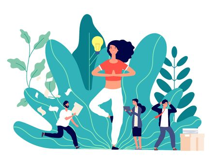 Meditation. Office work balance, creative woman works and thinks. Exercises for searching ideas, emotional business team vector concept. Illustration woman relax in office, balance yoga in business
