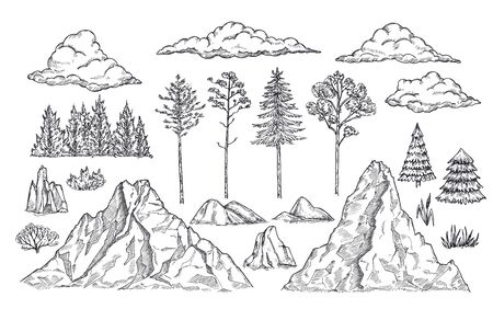 Nature landscape elements. Mount rocks, trees and bush. Sketch isolated park, garden or forest silhouettes. Hand drawn mountains vector set. Illustration rock sketch, landscape mountain Stock Illustratie