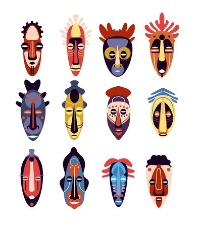 African mask. Traditional ritual or ceremonial ethnic hawaiian, aztec human face masks, muzzle aboriginal totem, colorful flat vector set. Illustration ethnic mask, tribal ritual, traditional culture Ilustracja