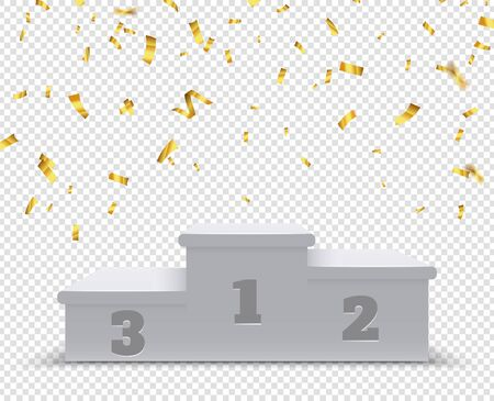 Winner podium. Sport winners pedestal, 3d steps. Celebration stand or platform for trophies with gold confetti. Isolated victory vector illustration. Competition podium ceremony, champion stage