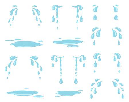 Larmes de dessin animé. Éclaboussure d'eau, gouttes de pluie et ruisseau naturel. Gouttelettes pleureuses et larmes de pleurs. Ensemble de vecteurs de sueur et de gouttes de pluie isolés. Expression d'eau de cri de pluie, illustration de dépression malheureuse