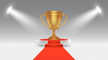 Competition award. Victory podium, sport or business winning pedestal with spotlights. Illuminated red carpet and stage with gold cup vector illustration. Ceremony podium, pedestal win for champion Ilustracja
