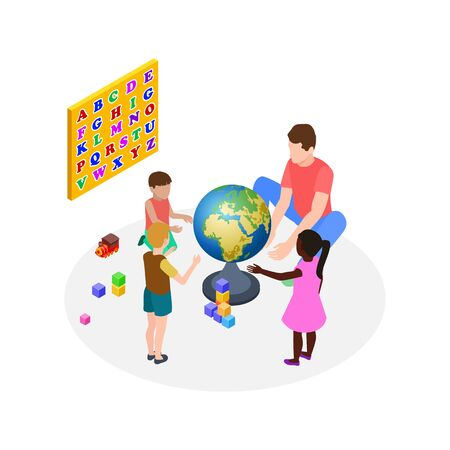 Children education. Teaching kids, preschoolers learning. Isometric man teacher international kindergarten. Creativity lecture about planet. Kindergarten preschool, children and teacher illustration Archivio Fotografico - 140884739