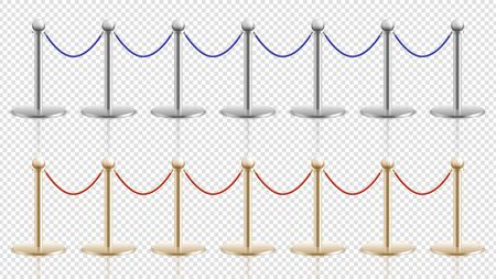 Rope barrier. Realistic silver gold steel stands with velvet cords. Festival or theater, cinema or musium entrance stanchion. Crowd control vector illustration. Cinema entrance, gallery and museum Ilustrace