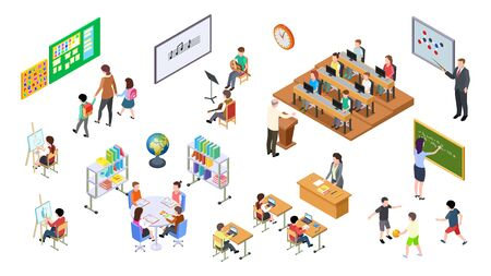 Isometric school. 3d college, teachers board and students. University elements, lecture room and furniture, tables and chairs. Education vector set. Education college, board and furniture illustration Vektorgrafik