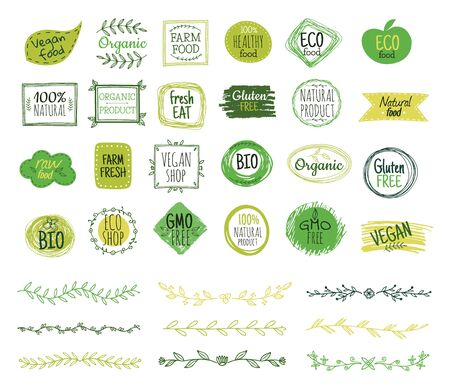 Eco emblems. Organic logo, green leaf borders. Natural fresh food stamps. Doodle branches, nature ornament. Vector healthy products stickers. Healthy botanical eco, organic health sticker illustration Logo